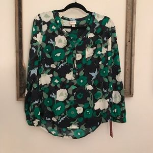 New, with tags, floral long sleeve blouse